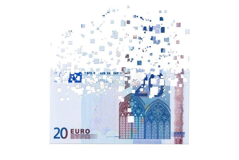 sedel för euro som 20 upplöser som ett begrepp av den ekonomiska crysisen royaltyfria bilder