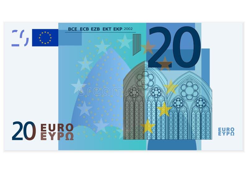 Sedel för euro tjugo stock illustrationer