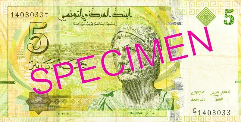 sedelavers för tunisian dinar 5 royaltyfri foto