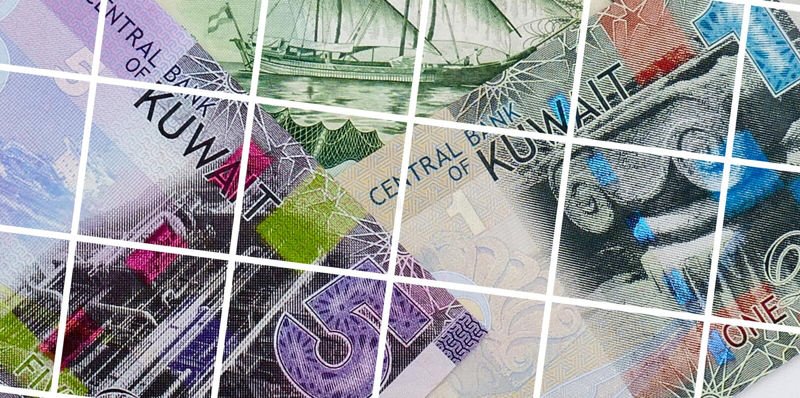 Sedelbakgrund för kuwaitisk dinar arkivbild