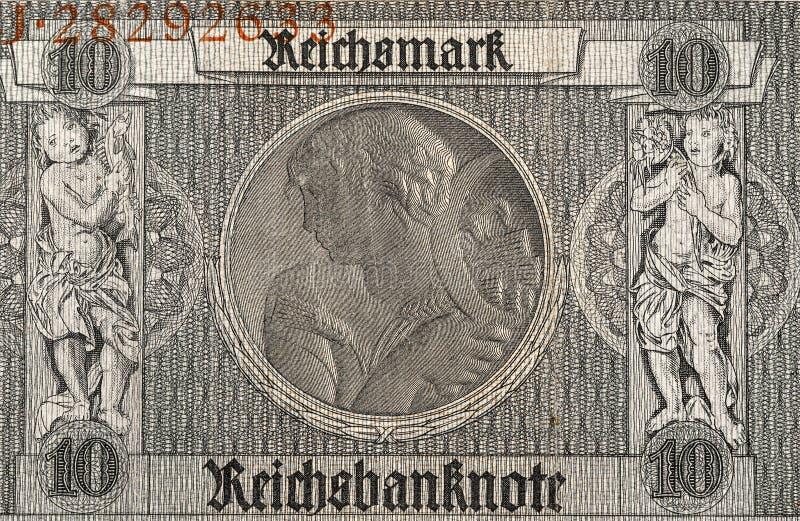 Sedelfragment för Reichsmark 10, 1929 royaltyfri fotografi