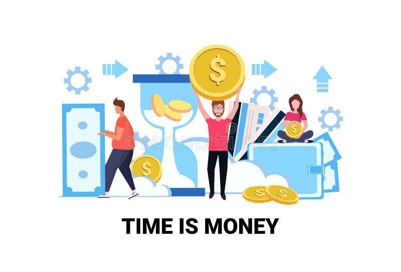 Sedeln för myntet för dollaren för affärsfolk sparar den hållande tecknade filmen för teamwork för rikedom för tillväxt för begre royaltyfri illustrationer