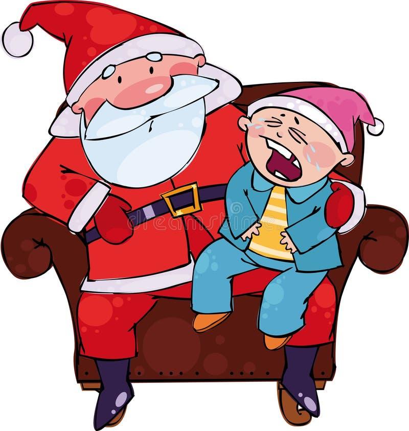 Sedendosi con Santa illustrazione di stock