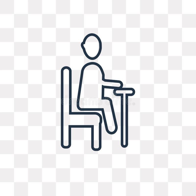 sedendosi l'icona di vettore isolata sul fondo trasparente, Lin royalty illustrazione gratis