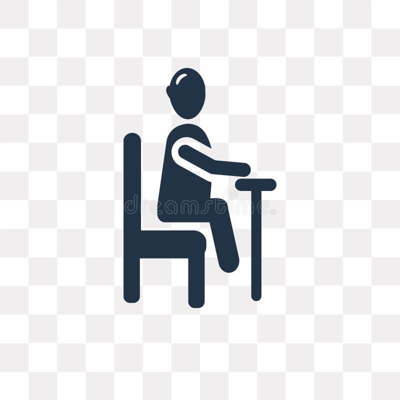 sedendosi l'icona di vettore isolata sul fondo trasparente, sieda illustrazione di stock