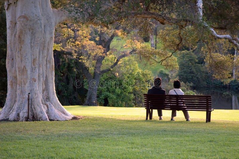 Sedendosi nel parco fotografia stock libera da diritti