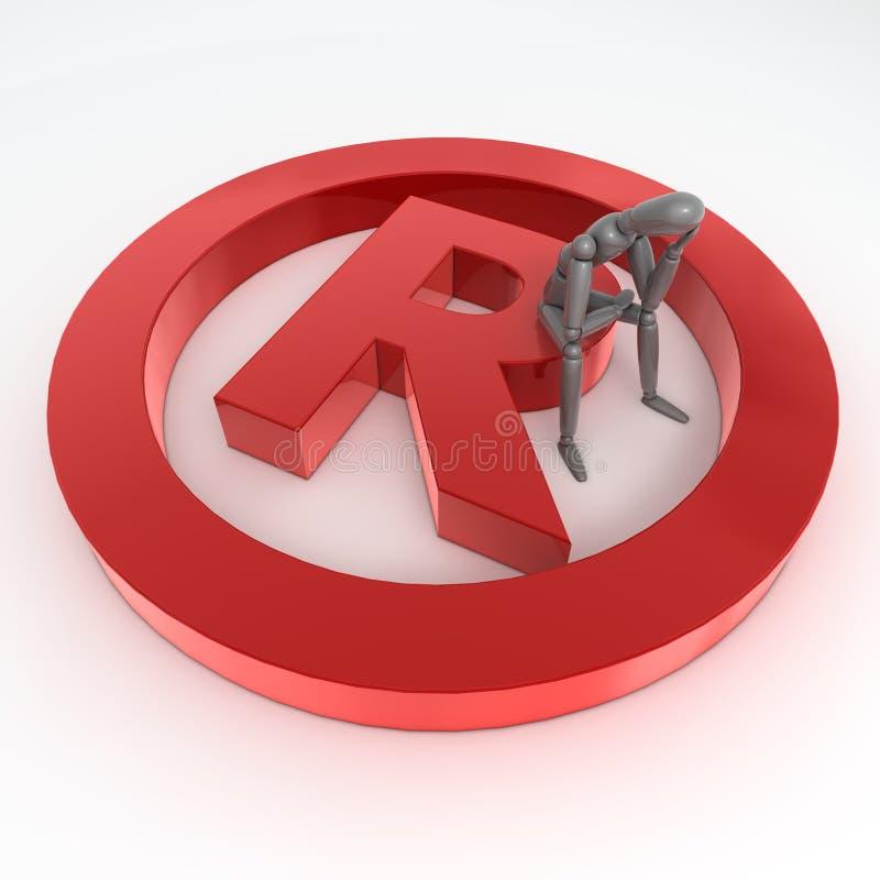 Sedendosi su un simbolo lucido rosso del registrato depositato illustrazione vettoriale