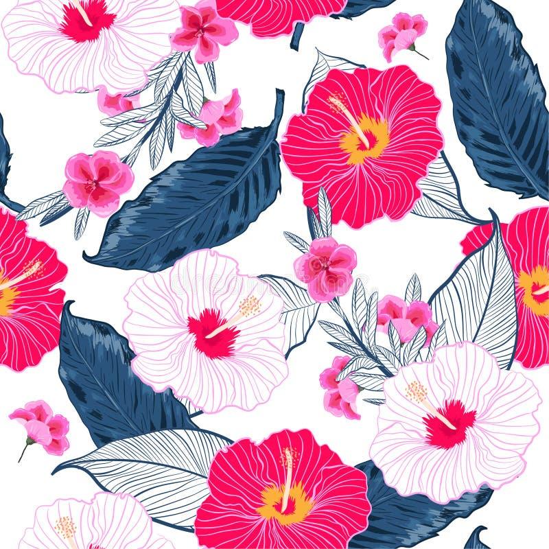 Sedere luminose e fresche floreali senza cuciture d'avanguardia del modello, di estate illustrazione di stock