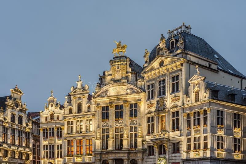 Sedi di corporazione su Grand Place a Bruxelles, Belgio. fotografie stock