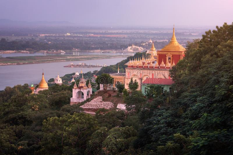 Sedi La Su Taung Pyae Pagoda and Irrawaddy River in the Evening, Sagaing Hill, Myanmar. Sedi La Su Taung Pyae Pagoda and Irrawaddy River in the Evening, Sagaing royalty free stock photography