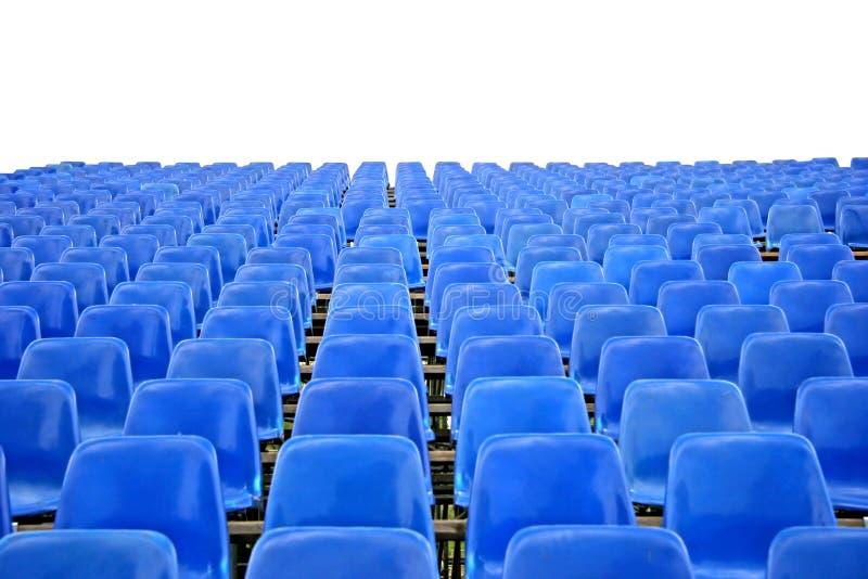 Sedi vuote blu dello stadio immagine stock