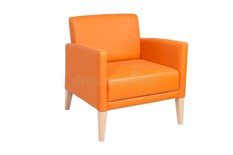 Sedia arancio isolata su bianco fotografie stock libere da diritti