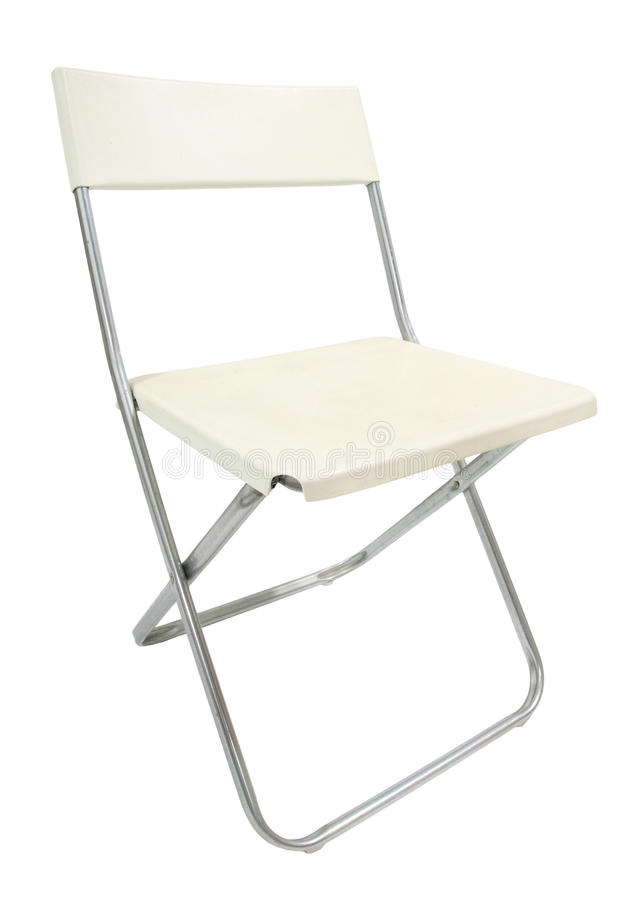 Sedia bianca isolata su bianco fotografia stock