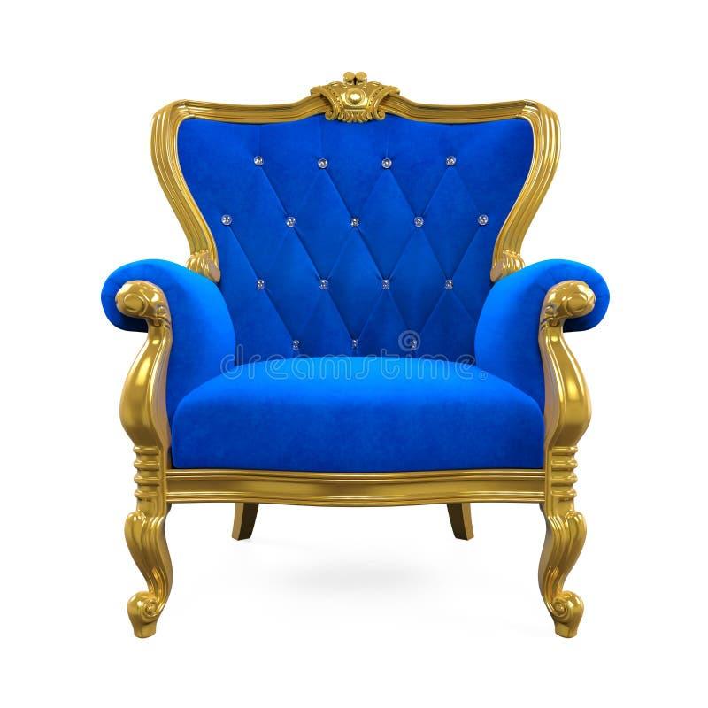 Sedia blu del trono isolata illustrazione di stock
