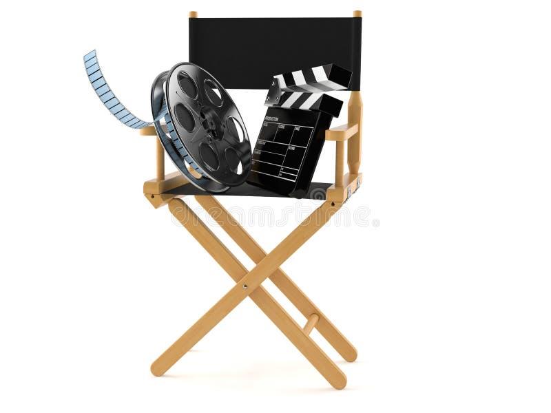Sedia del regista con la bobina di film e l'assicella illustrazione vettoriale