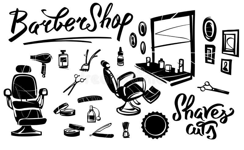 Sedia del ` s del parrucchiere Strumenti professionali del parrucchiere illustrazione vettoriale