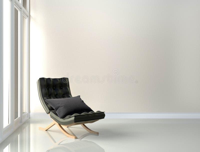 Sedia di cuoio nera - interno della stanza sul fondo bianco della parete rappresentazione 3d illustrazione di stock