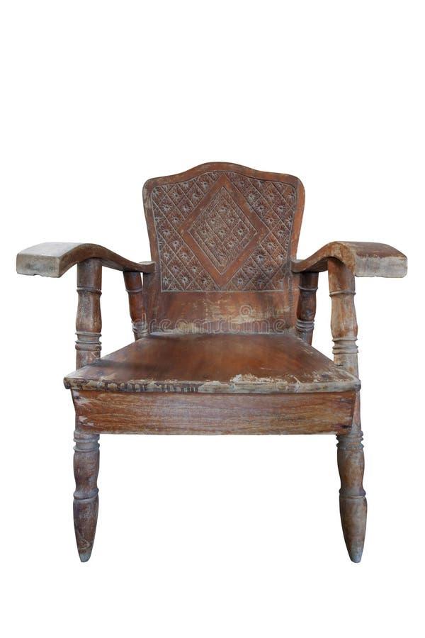 Sedia di legno d'annata con lo stampino isolato su fondo bianco fotografie stock