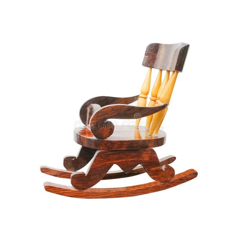 Sedia di legno d'oscillazione antica isolata su fondo bianco con il percorso di ritaglio fotografia stock