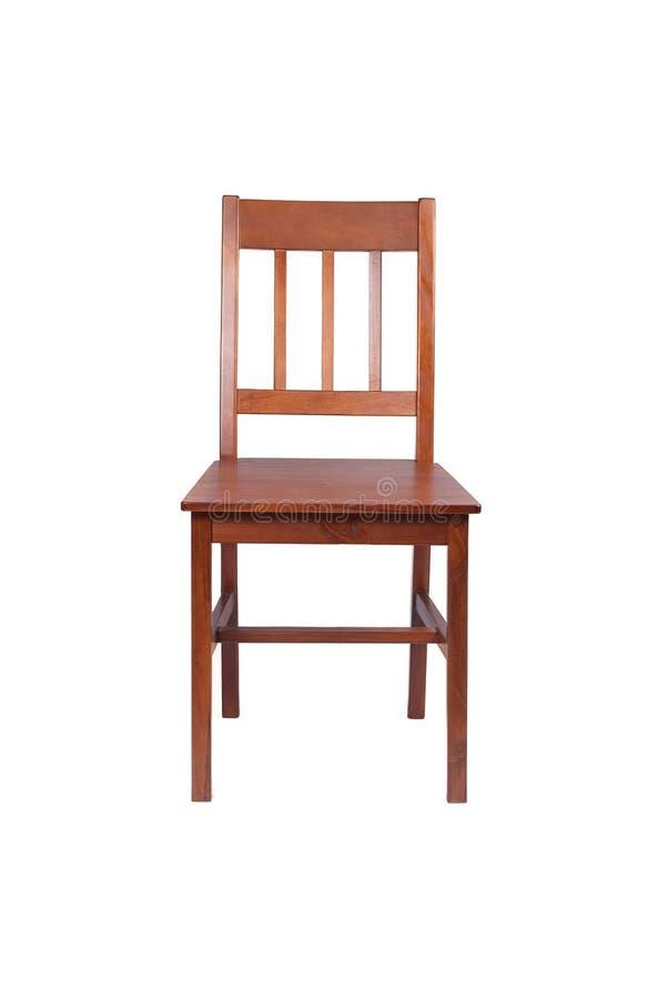 Sedia di legno di Brown isolata su bianco fotografia stock libera da diritti