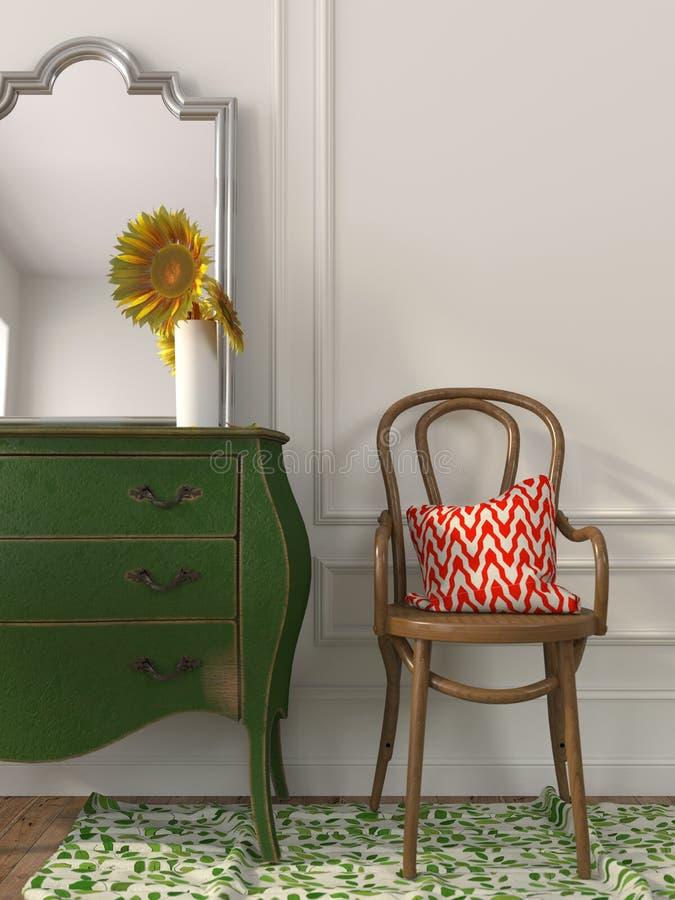 Sedia di legno e cassettone verde fotografia stock