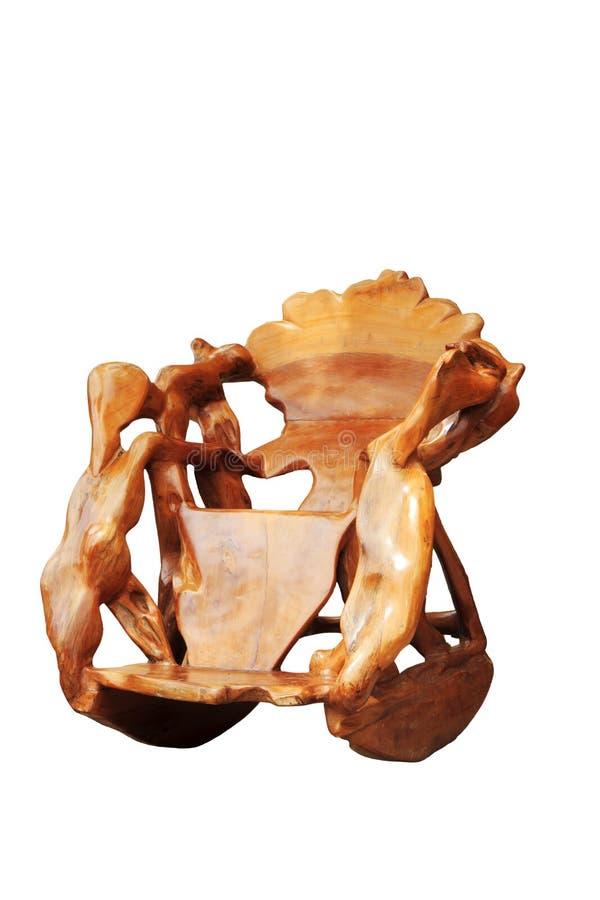 Sedia di legno insolita isolata con il percorso di ritaglio fotografia stock libera da diritti