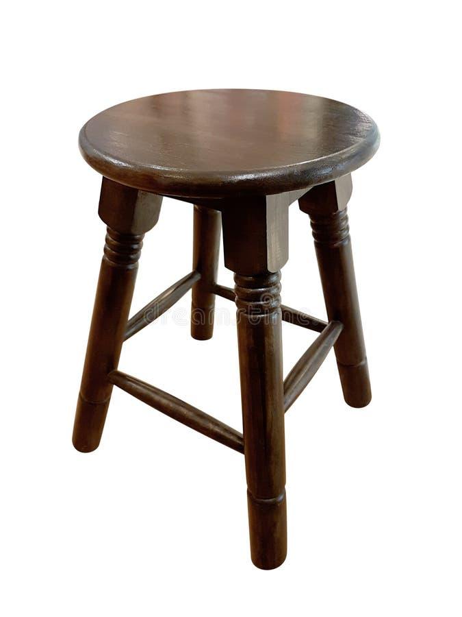 Sedia di legno rotonda senza uno schienale isolato sul backgrou bianco fotografia stock libera da diritti