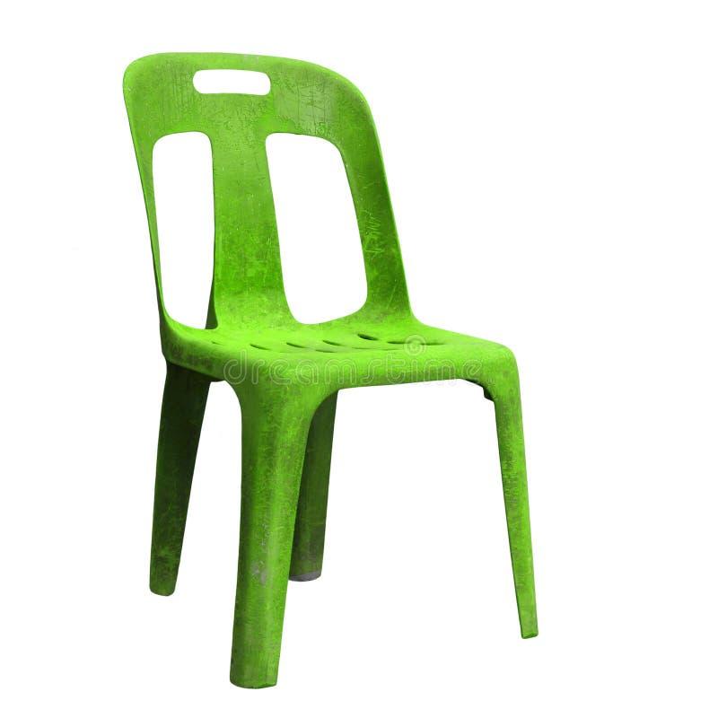 Sedia di plastica verde isolata su bianco fotografia stock