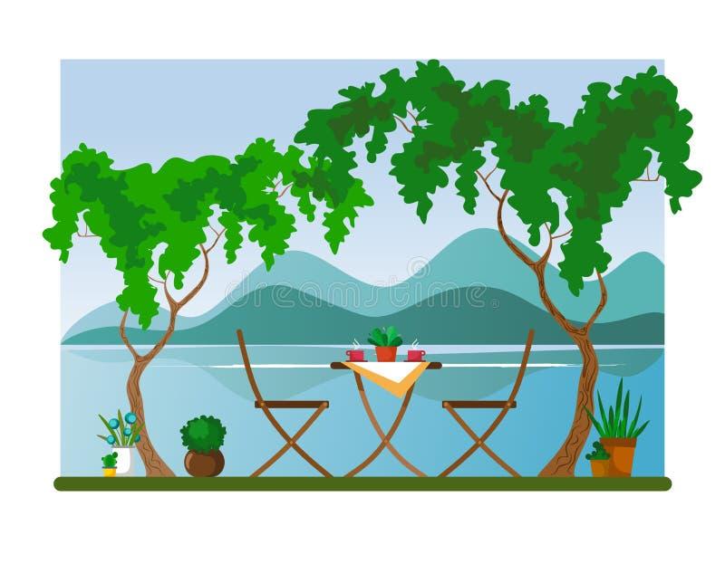 Sedia e tavola con caffè caldo agli alberi crescenti che trascurano il fiume e le montagne Illustrazione di vettore illustrazione di stock
