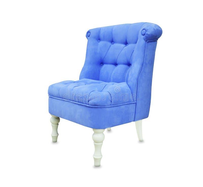 Sedia molle da pelle scamosciata blu isolata sopra bianco fotografia stock