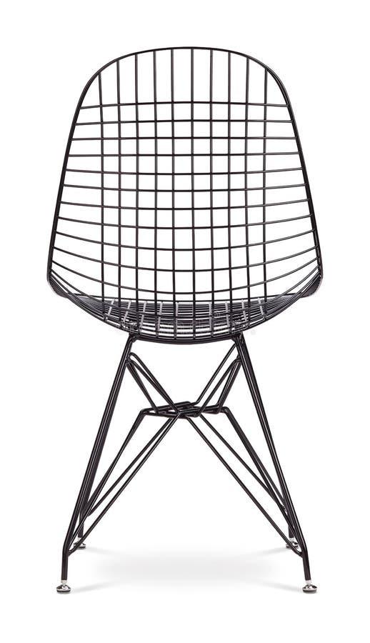 Sedia nera del metallo con il sedile di cuoio sedia moderna del progettista su fondo bianco Sedia del metallo mancanza, metallo,  immagine stock
