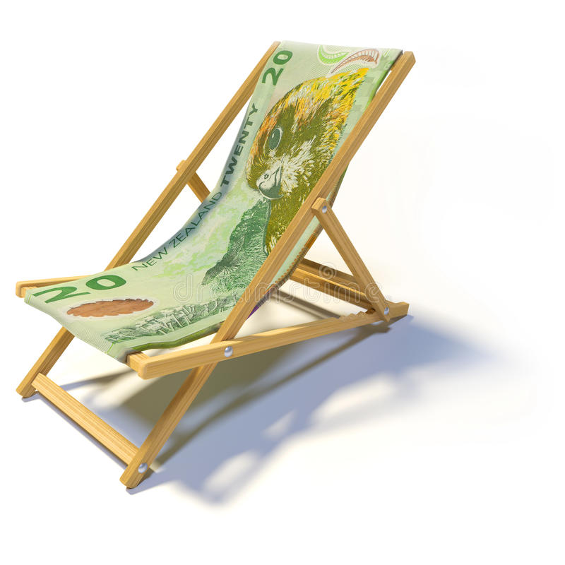 Sedia pieghevole con 20 dollari di Nuova Zelanda illustrazione vettoriale