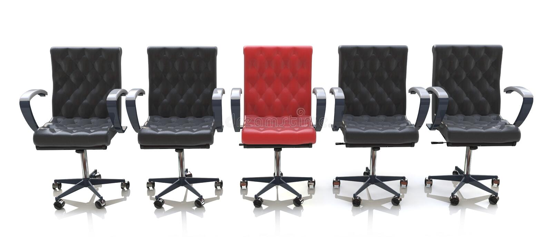 Sedia rossa dell'ufficio fra le sedie nere isolate su fondo bianco royalty illustrazione gratis