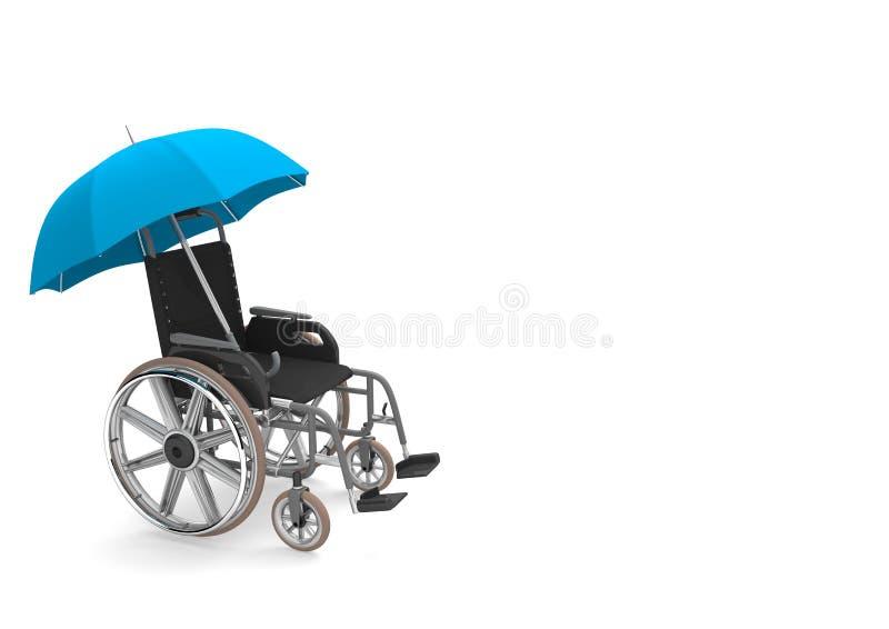 Sedia a rotelle blu dell'ombrello illustrazione di stock