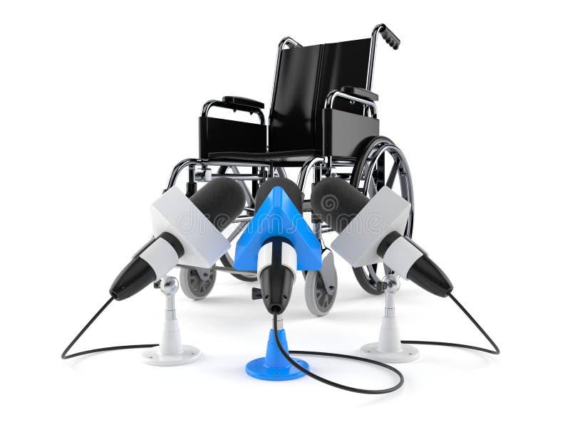 Sedia a rotelle con i microfoni di intervista royalty illustrazione gratis