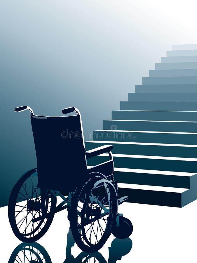 Sedia a rotelle e scale, vettore royalty illustrazione gratis