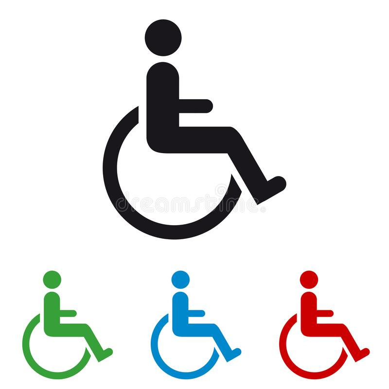 Sedia a rotelle - icone Colourful di vettore - isolata su bianco illustrazione di stock