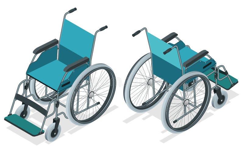 Sedia a rotelle isometrica isolata Sedia con le ruote, utilizzate quando camminare è difficile o impossibile dovuto la malattia,  royalty illustrazione gratis