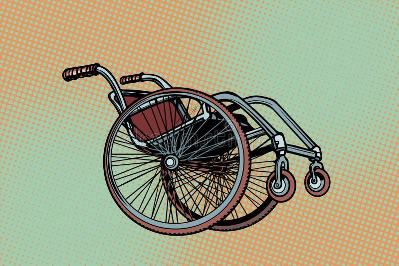 Sedia a rotelle realistica, giorno internazionale di simbolo delle persone con la D illustrazione vettoriale