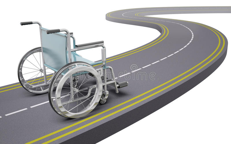 Sedia a rotelle su una strada illustrazione vettoriale
