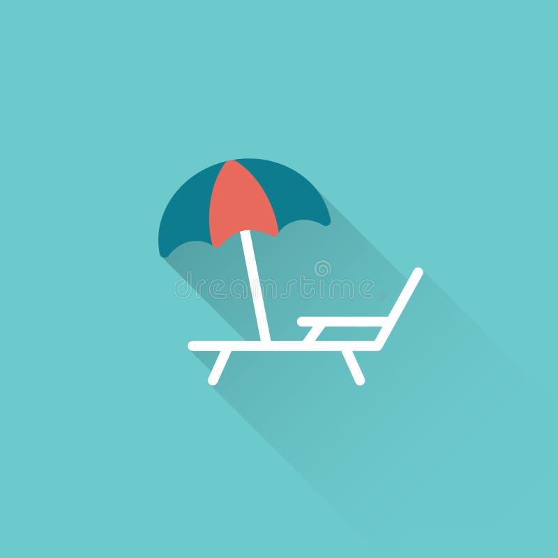 Sedia a sdraio piana con l'icona dell'ombrello su fondo blu illustrazione vettoriale