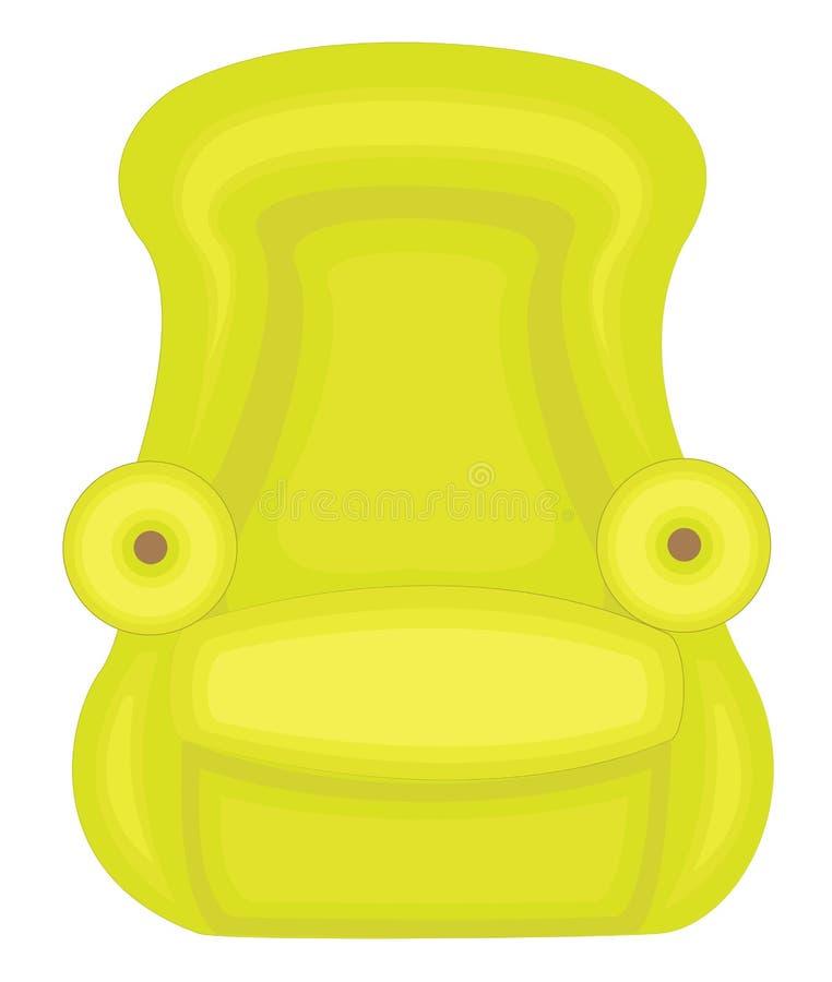 Sedia verde Mobilia per l'appartamento Crea nella comodità e nella comodità della stanza della camera da letto e di corridoio Ill illustrazione vettoriale