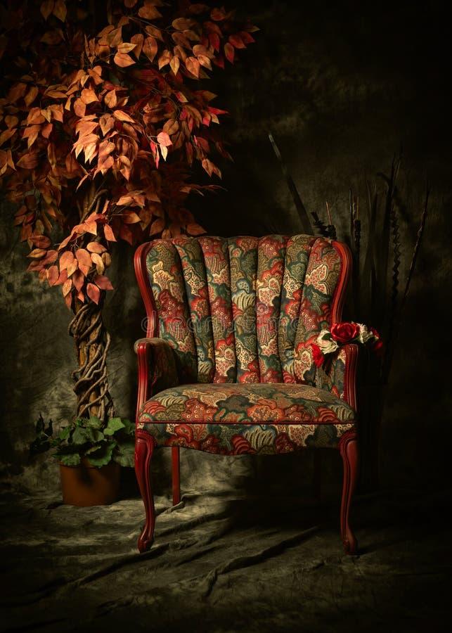 Sedia vuota antica con il modello variopinto e la pianta fotografia stock libera da diritti