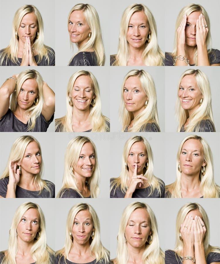 Sedici espressioni facciali di una donna immagine stock libera da diritti