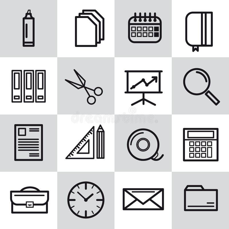 Sedici linea sottile icone dell'ufficio illustrazione di stock