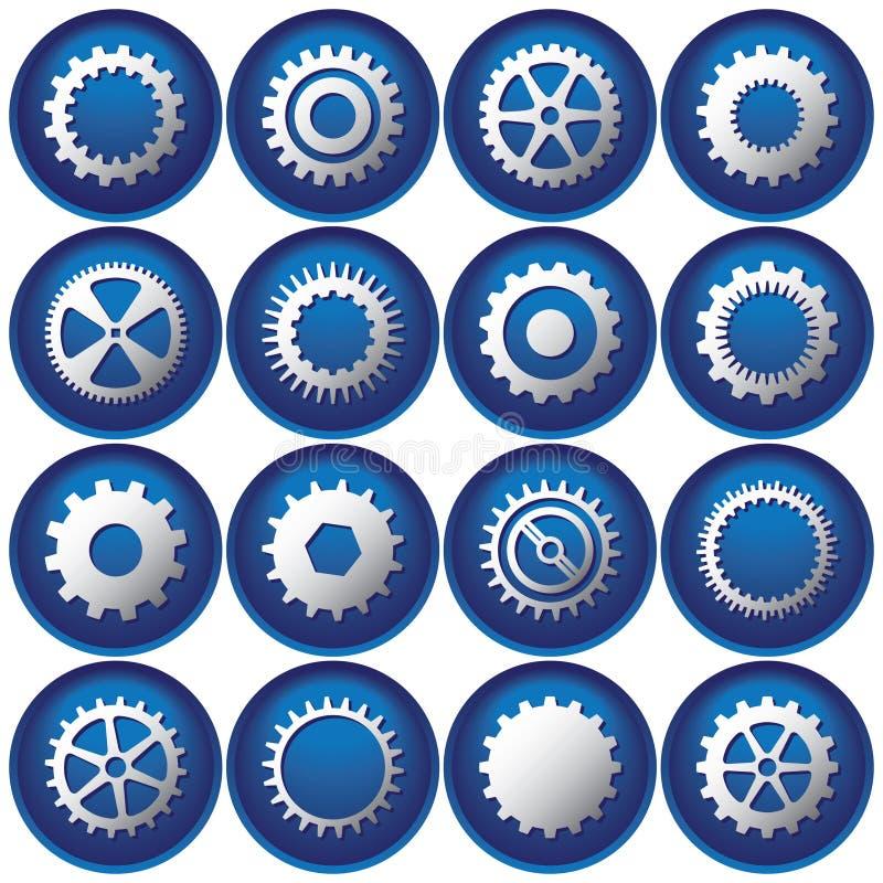 Sedici tasti/icone del dente illustrazione di stock