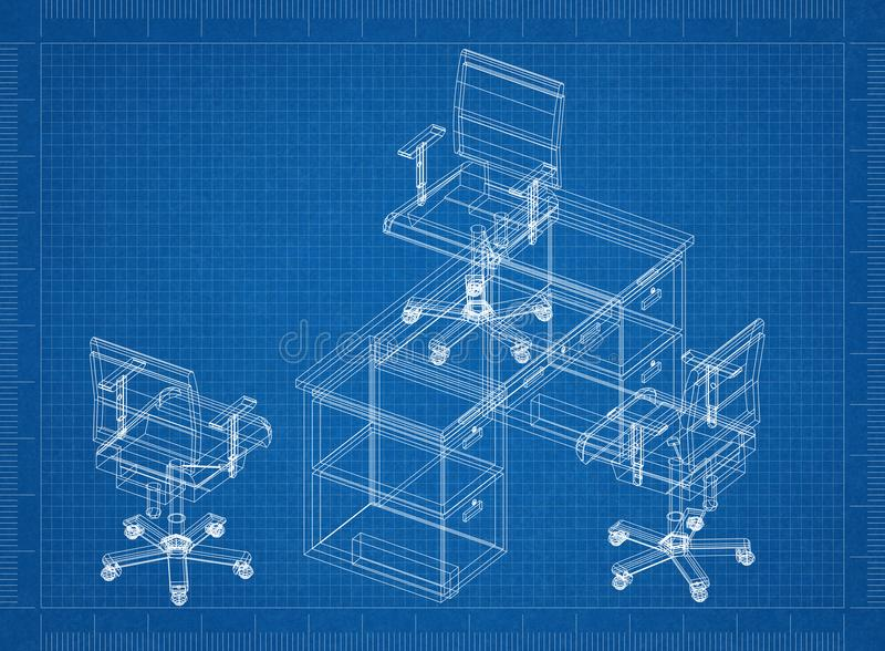Sedie dell'ufficio e modello della tavola 3D illustrazione vettoriale
