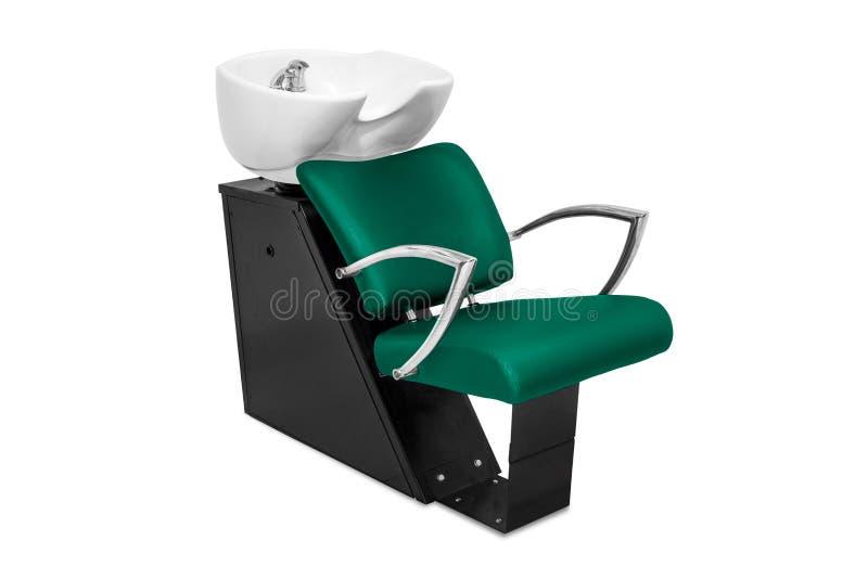 Sedie di lavaggio dei capelli isolate nel bianco immagine stock