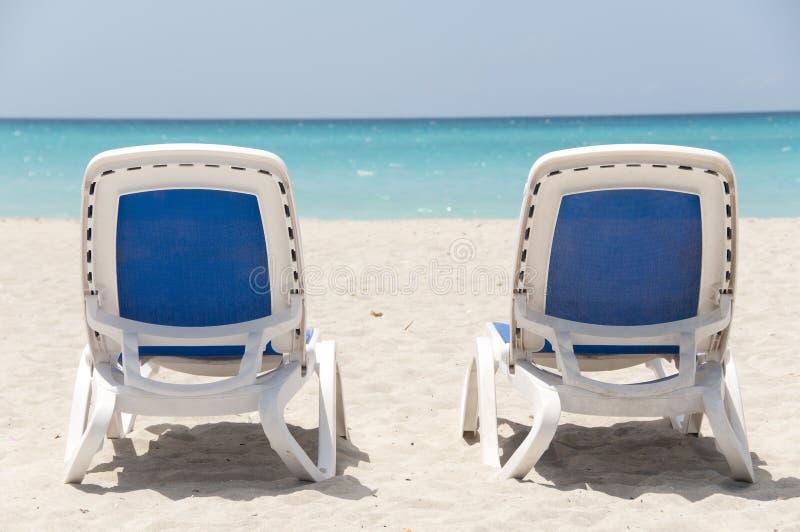 Sedie di spiaggia - Varadero - Cuba fotografia stock libera da diritti