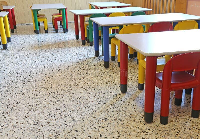 Sedie di plastica nella classe di asilo della scuola for Tavole da pranzo